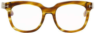 Tom Ford Brown Blue Block Thick Square Glasses
