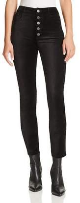 Paige Hoxton Ankle Straight Velvet Jeans in Black Overdye