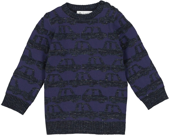 La Redoute Collections Car Motif Crew Neck Jumper, 1 Month-3 Years