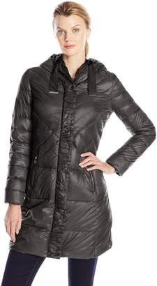 T Tahari Women's New Down Coat with Gros Grain Trim