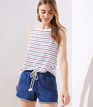 LOFT Petite Cotton Linen Drawstring Shorts