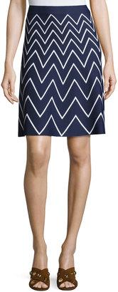 Pink Tartan Stretch-Knit Chevron Skirt, Blue/White $199 thestylecure.com
