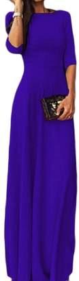 LEISHOP Womens Club Collar 3/4 Sleeve Chiffon Long Solid Color Dress XL