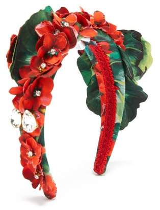 Dolce & Gabbana Crystal Embellished Floral Headband - Womens - Red