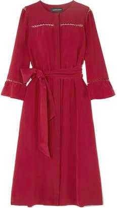 Vanessa Seward Félicie Lace-trimmed Silk Midi Dress - Claret