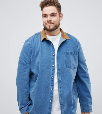 Asos DESIGN Plus overshirt in heavy denim with cord collar and cuffs in mid wash