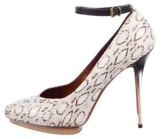 Lanvin Embossed Ankle-Strap Pumps