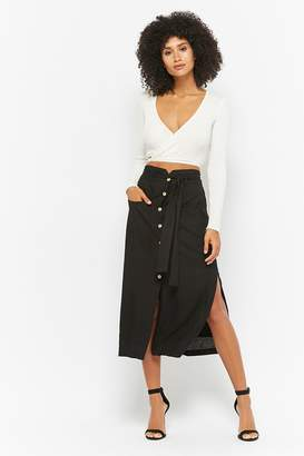 Forever 21 Slit Button-Front Midi Skirt