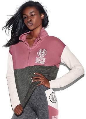 Victoria's Secret PINK High-Low Half-Zip Pullover sweatshirt, /white