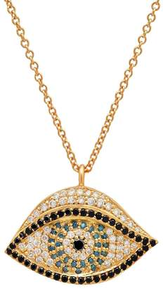 Established Diamond and Sapphire Evil Eye Necklace - Yellow Gold