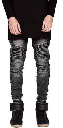 Begin Trendy Designed Straight Pants Casual Men Jeans Slim Elastic Denim Trousers