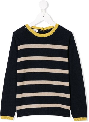 Knot striped long-sleeve top