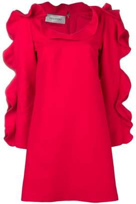 Valentino puffed ruffle sleeve cocktail dress