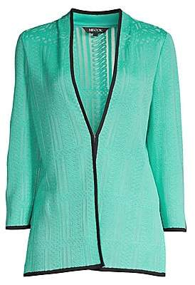 Misook Women's Lattice Knit Collarless Jacket