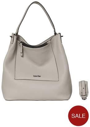 Calvin Klein Contemporary Hobo Leather Bag - Cement
