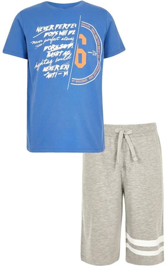 Boys Blue spliced print pyjama set