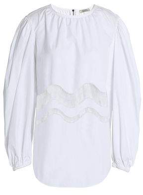 Nina Ricci Chantilly Lace-Trimmed Gathered Cotton-Poplin Blouse