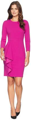 Donna Morgan Long Sleeve Crepe Dress with Asymmetrical Ruffle Skirt Women's Dress
