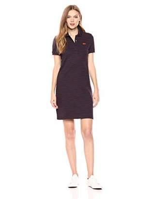 Lacoste Women's Short Sleeve Slim Fit Striped Stretch Mini Pique Dress