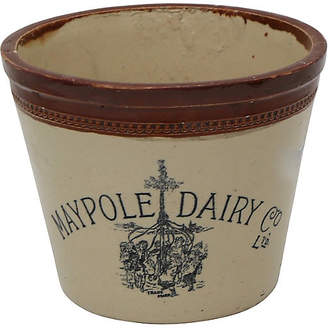 One Kings Lane Vintage Antique English Dairy 6lb Butter Crock - Rose Victoria