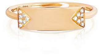 Ef Collection 14K Yellow Gold Nameplate Stack Ring - Size 7 - 0.04 ctw