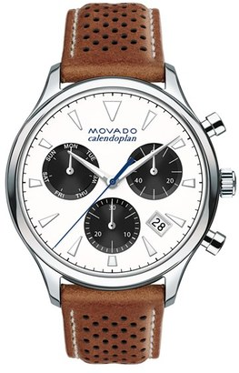Movado 'Heritage' Chronograph Leather Strap Watch, 43Mm $795 thestylecure.com
