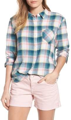 Caslon Plaid Linen Blend Shirt