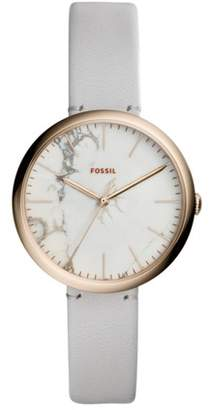 Fossil Annette Three-Hand Mineral Gray Leather Watch Jewelry