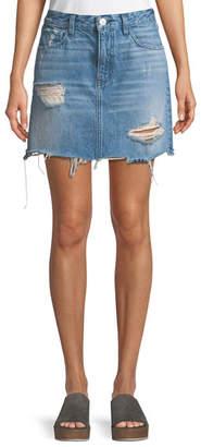 3x1 Celine A-Line Distressed Denim Skirt
