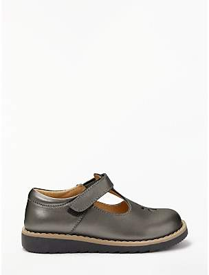 John Lewis & Partners Children's Willow T-Bar Leather Shoes, Pewter