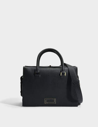 Lancel Pia Tote Bag in Black Grained Leather