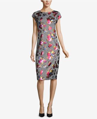 ECI Metallic-Print Plaid Sheath Dress