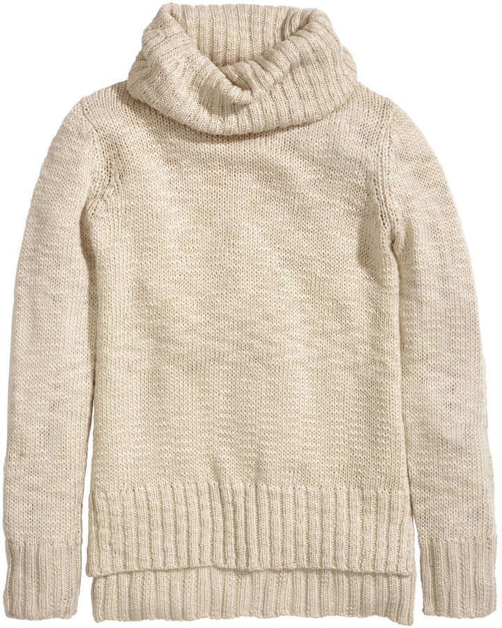 H&M Knit Cowl-neck Sweater - Light beige