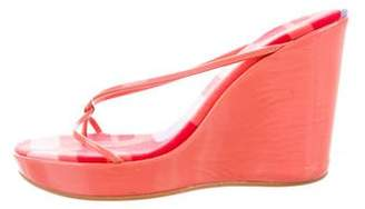 Sergio Rossi Patent Leather Wedge Sandals