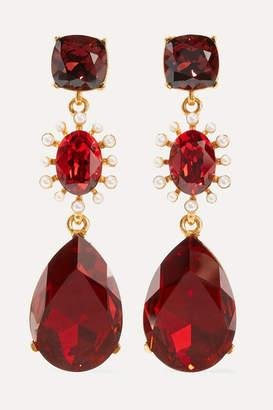 Oscar de la Renta Gold-tone, Crystal And Faux Pearl Clip Earrings