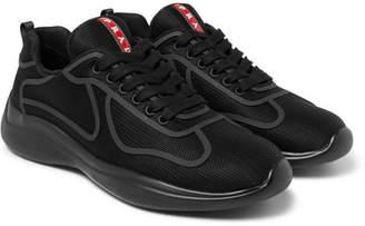 Prada Americas Cup Rubber-Trimmed Mesh Sneakers