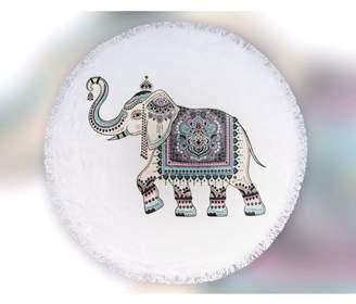 Urban Nomads Round Large Beach Towel 100% Turkish Cotton with Tassels (Ethnic Elephant)