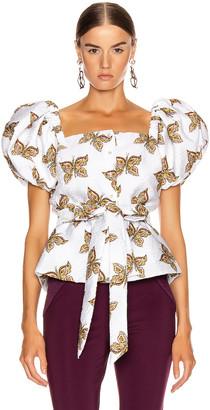 Rodarte Butterfly Cinch Waist Blouse in White   FWRD