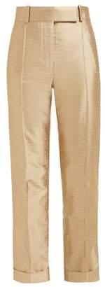 Haider Ackermann Blackpool Polka Dot Silk Blend Jacquard Trousers - Womens - Beige White
