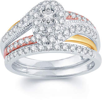 MODERN BRIDE 1 CT. T.W. Diamond 14K Tri-Color Gold Engagement Ring