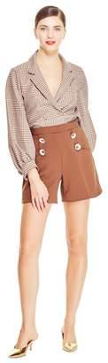 Lela Rose Stretch Canvas Flower Button Shorts