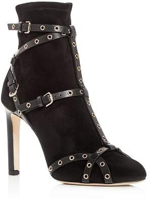 Jimmy Choo Women's Brianna 100 Suede & Leather High-Heel Booties