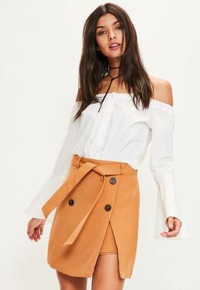 Tan Trench Belt Mini Skirt $48 thestylecure.com