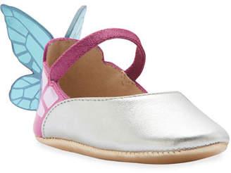 Sophia Webster Chiara Metallic Leather Butterfly-Wing Flats, Baby