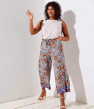 LOFT Plus Boho Mosaic Fluid Drawstring Pants