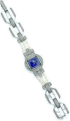 Mother of Pearl Arthur Marder Fine Jewelry Silver 19.00 Ct. Tw. Diamond, Tanzanite, & 3Mm Pearl & Mother-Of-Pearl Bracelet