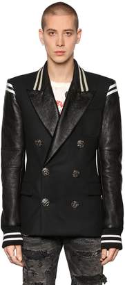 Faith Connexion Double Breasted Wool & Leather Jacket