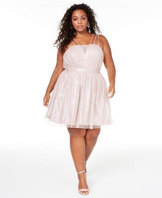 City Studios Trendy Plus Size Shimmer Fit & Flare Dress
