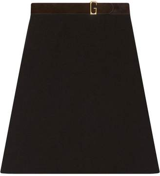 Gucci Linen canvas belted skirt
