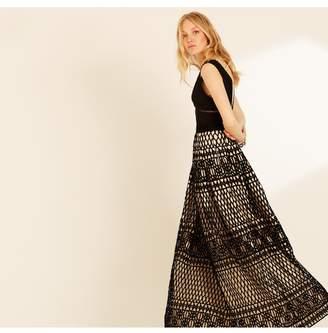 Amanda Wakeley Black Oyster Graphic Guipure Long Dress